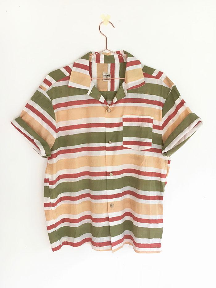 44bc52ec80a9 Block Printed Mens Shirt Short Sleeve Thick Stripe Print - Original ...
